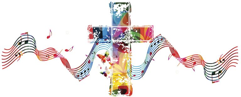 Colorful christian cross with stave and music notes